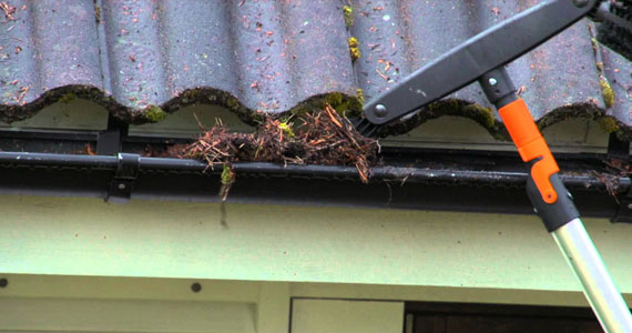 cleaning gutter gunk